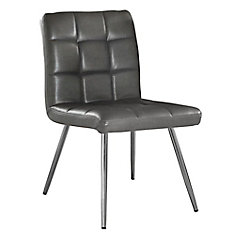 Leather Metal Chrome Slat Back Armless Dining Chair with Grey Faux Leather Seat - Set of 2
