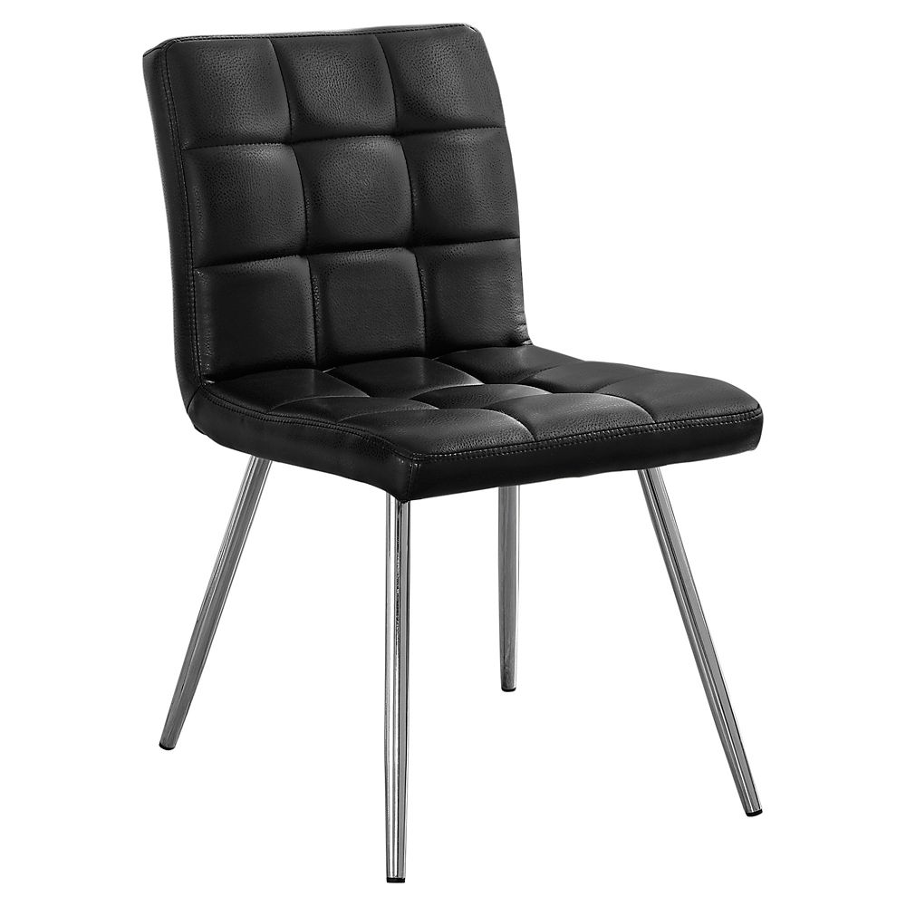Monarch Specialties Leather Metal Chrome Slat Back Armless Dining Chair with Black Faux Leather Seat - Set of 2