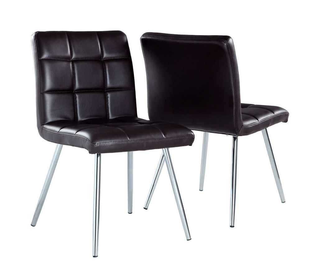 """Brown Leather-Look / Chrome Metal 32""""H Dining Chair / 2Pc"""