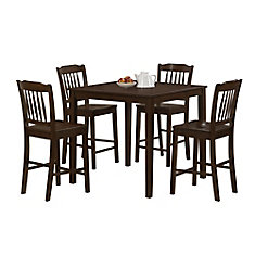 Cappuccino Veneer 5-Pieces Counter Height Dining Set
