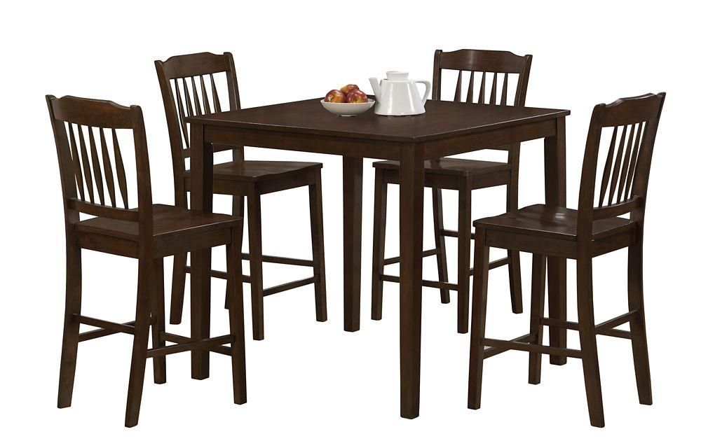 Monarch Specialties Cappuccino Veneer 5Pcs Counter Height Dining Set