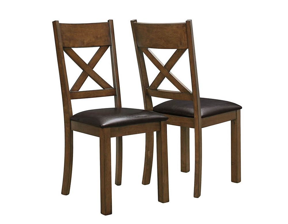 Leather Wood Walnut Cross Back Armless Dining Chair with Brown Faux Leather Seat - Set of 2