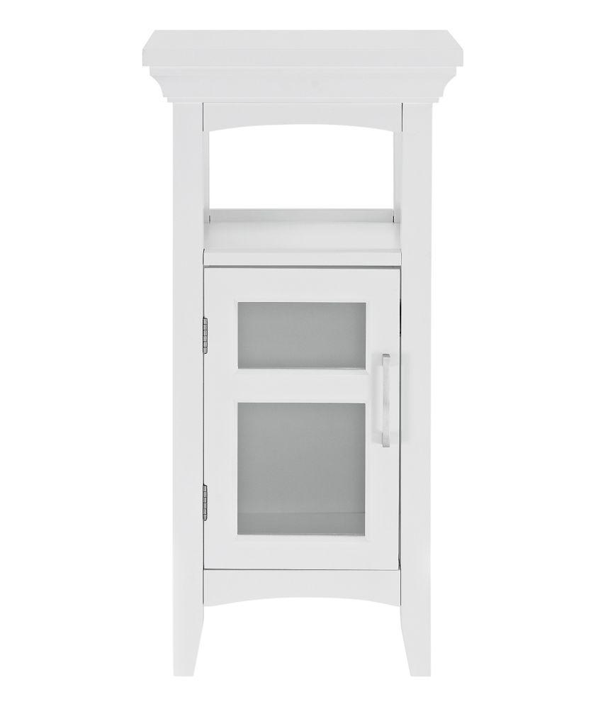 GLACIER BAY Bathroom Floor Storage Cabinet with Tempered Glass Door in White