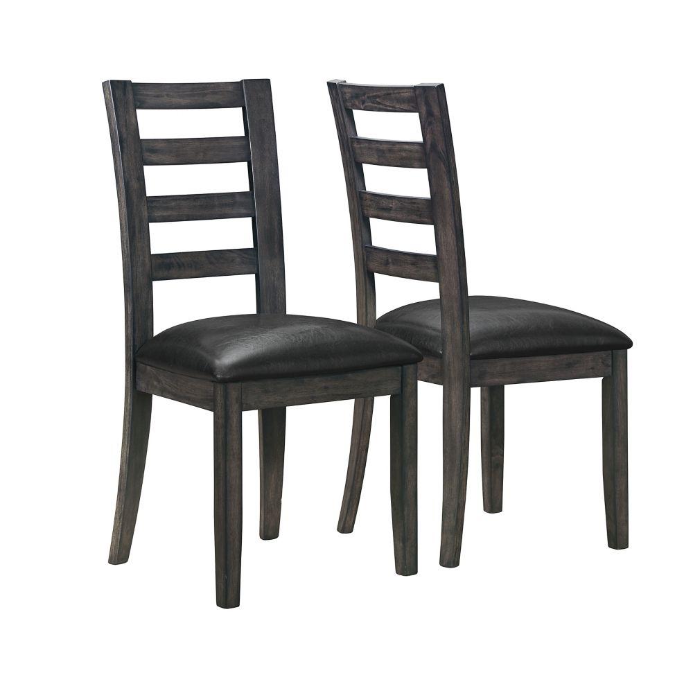 """Chaise - 2Pcs / 39""""H / Simili-Cuir Noir / Gris Fonce"""