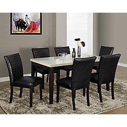 Monarch Specialties Chaise Parson sans accoudoirs, cuir et bois marron, siège similicuir noir, ens. de 2