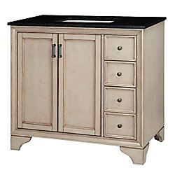 Home Decorators Collection Hazelton 37-inch W Vanity in Antique Grey Finish with Granite Top in Black