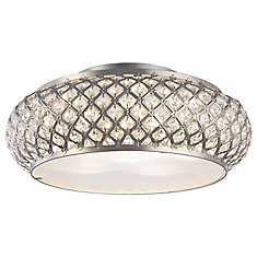 Winvian 6-Light Brushed Stainless Steel LED Flushmount Ceiling Light with Crystal Accents