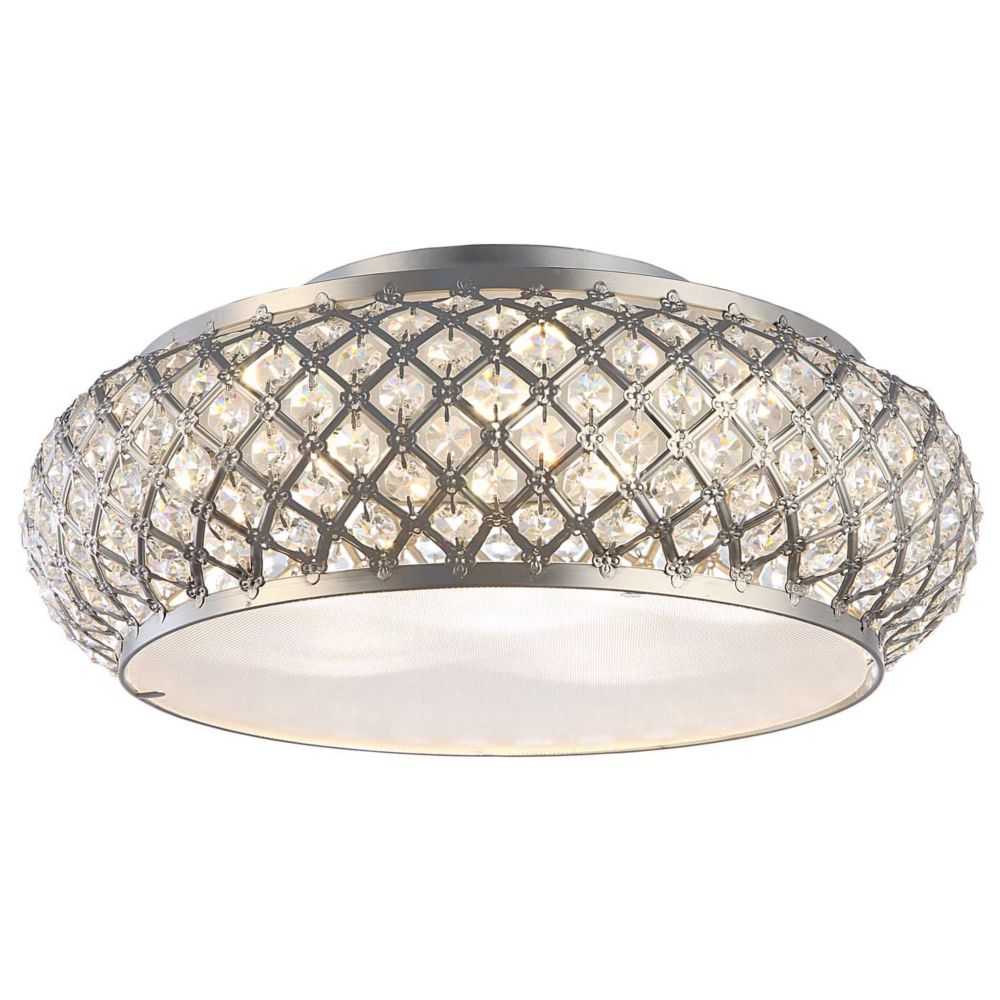 Home Decorators Collection Winvian 6-Light Brushed Stainless Steel LED Flushmount Ceiling Light with Crystal Accents