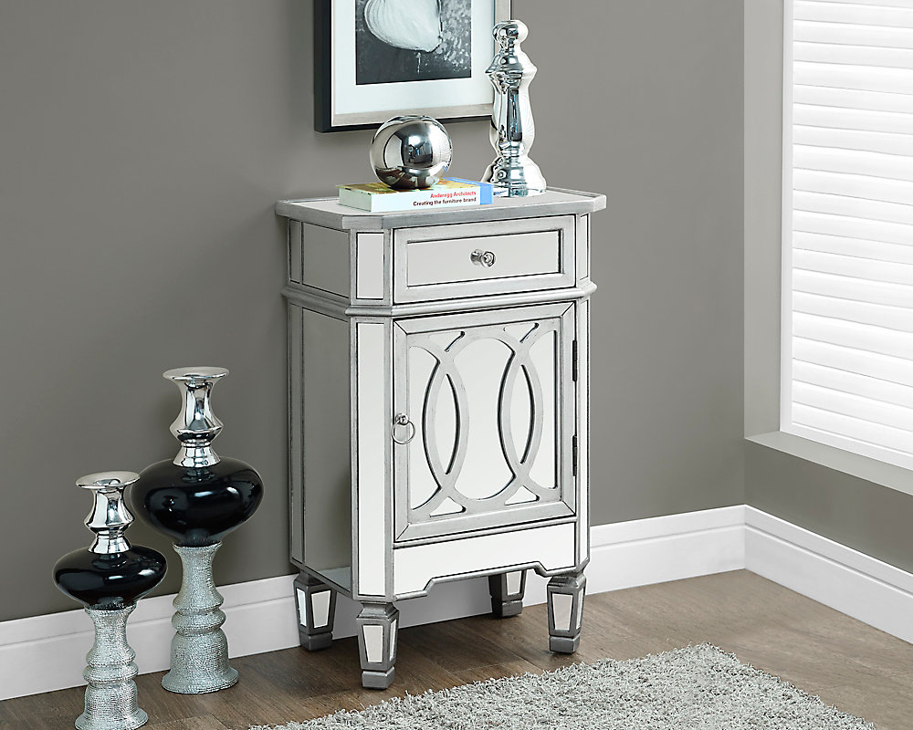 """Brushed Silver / Mirrored 29""""H Accent Table"""