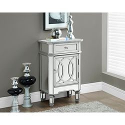 """Monarch Specialties Brushed Silver / Mirrored 29""""H Accent Table"""