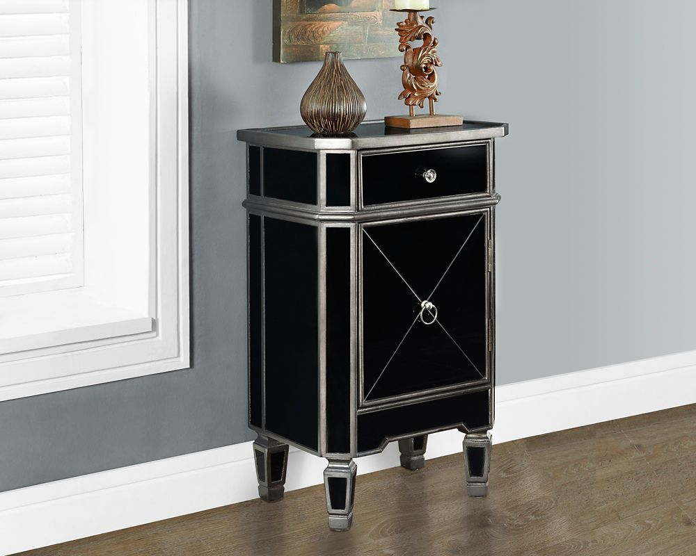 "Brushed Charcoal Grey / Black Mirrored 29""H Accent Table"