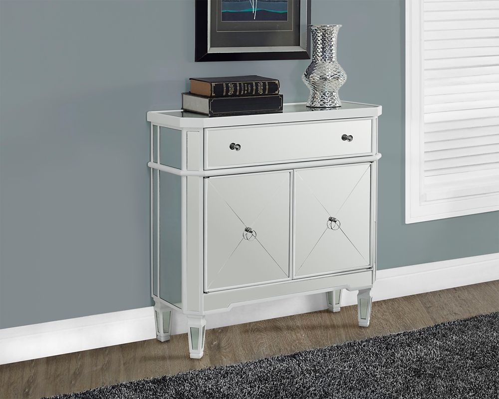"Satin White / Mirrored 32""L Accent Table"
