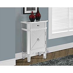 Monarch Specialties Satin White / Mirrored 1 Drawer Accent Cabinet