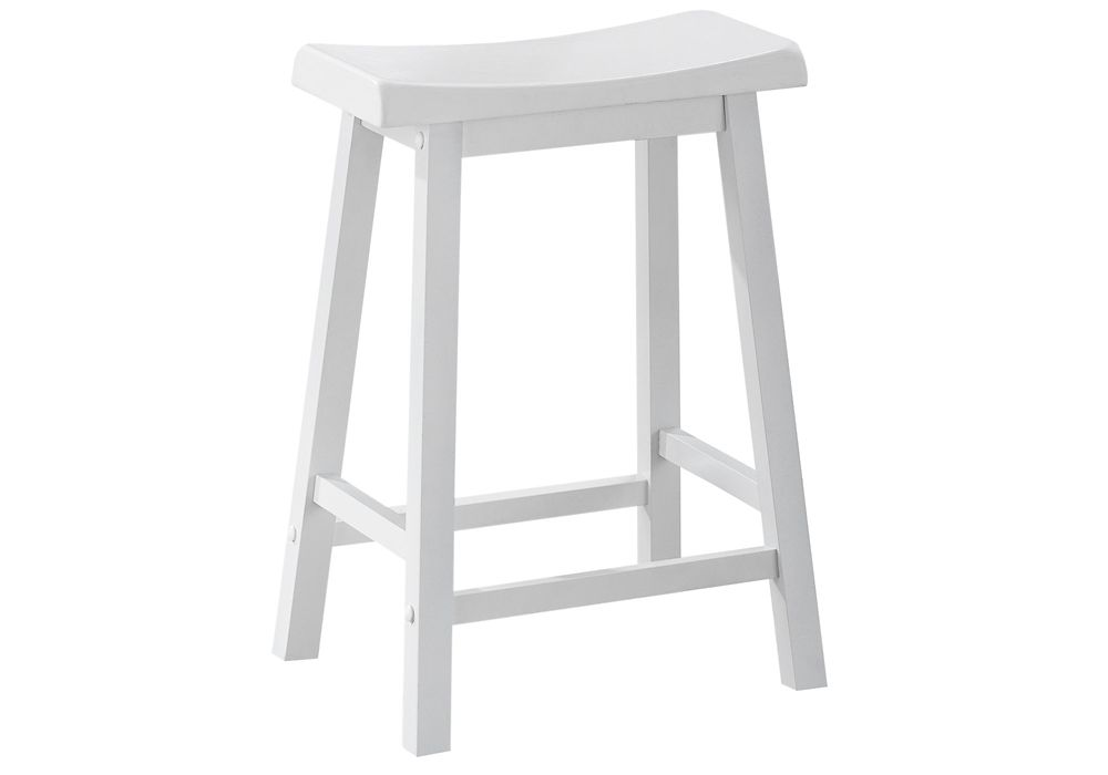 Monarch Specialties Barstool - 2Pcs / 24 Inch H / White Saddle Seat