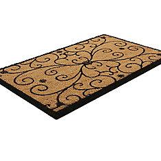 Iron Work Scroll Beige and Tan 1 ft. 6-inch x 2 ft. 6-inch Indoor/Outdoor Rectangular Coir Door Mat