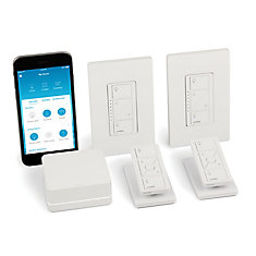 Caseta Wireless Smart Lighting Dimmer Switch (2-Pack) Starter Kit with pedestals for Pico remotes