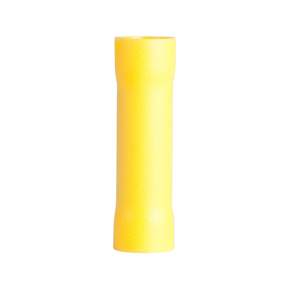 Butt Splice Crimp Connector, 12-10 AWG, Yellow, 15/Clam