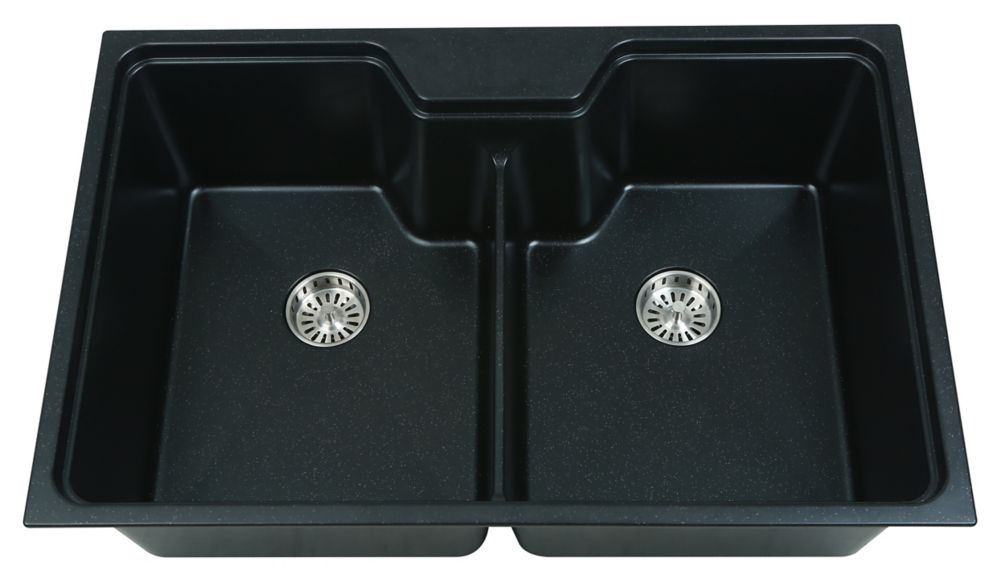 GLACIER BAY Dual Mount Composite 31.5 Inch. Double Bowl Kitchen Sink in Slate