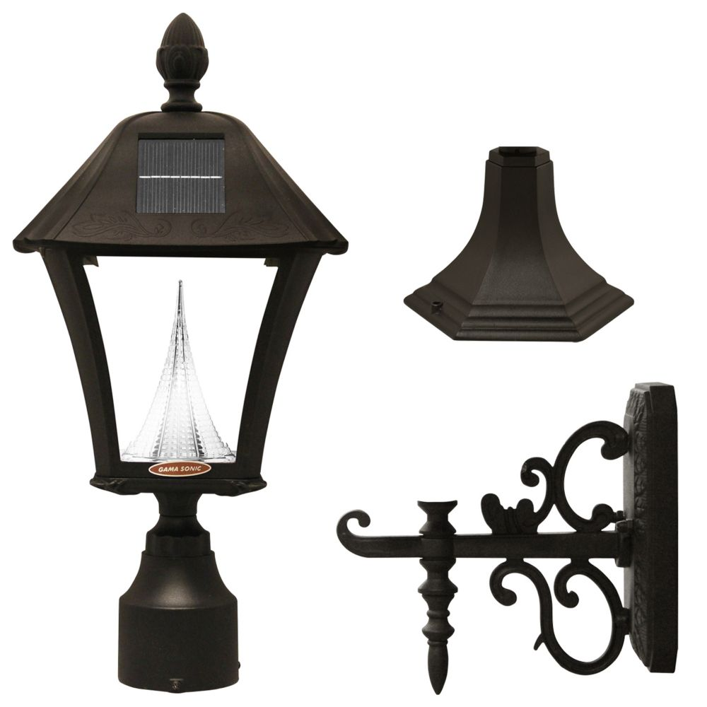gama sonic baytown solar led post mount or wall mount outdoor light fixture in black the home. Black Bedroom Furniture Sets. Home Design Ideas