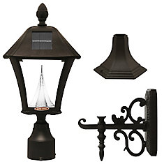 Baytown Solar LED Post Mount Or Wall Mount Outdoor Light Fixture In Black