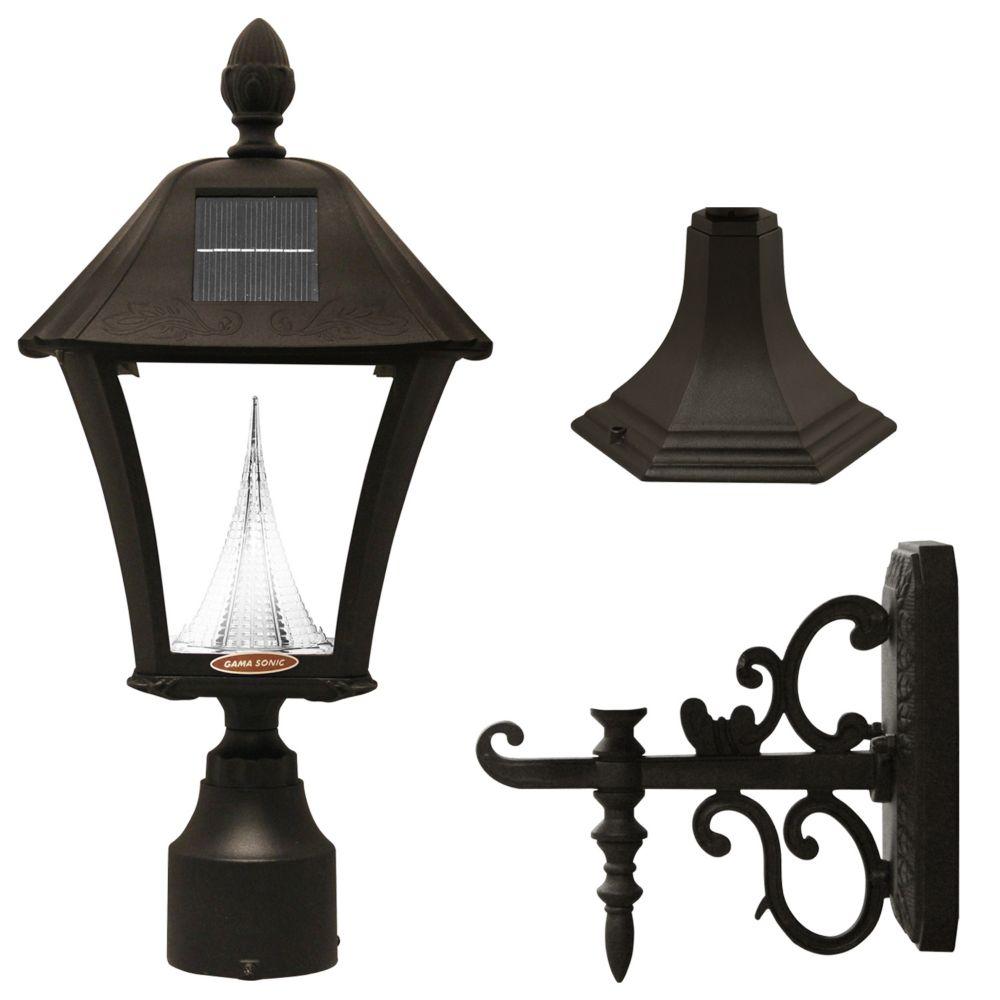 Baytown Black Solar Post-Mount/Wall-Mount LED Outdoor Light Fixture