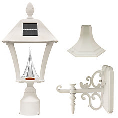 Baytown White Solar Post-Mount/Wall-Mount LED Outdoor Light Fixture