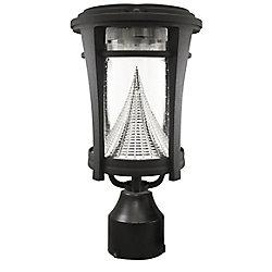 Gama Sonic Aurora Black Solar Post-Mount/Wall-Mount Bright-White LED Outdoor Light Fixture