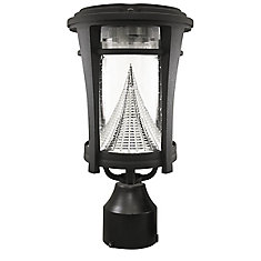 Aurora Black Solar Post-Mount/Wall-Mount Bright-White LED Outdoor Light Fixture
