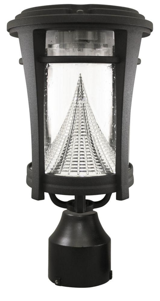 Luminaire solaire extérieur mural/sur poteau avec LED blanc brillant, de style Aurora, noir
