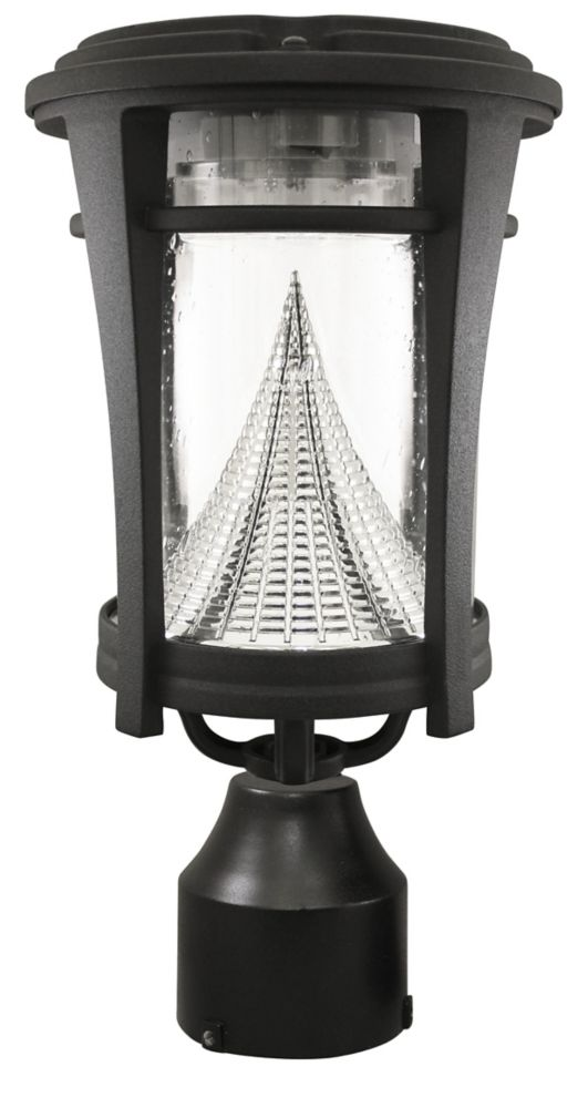 Gama Sonic Aurora Black Solar Post-Mount/Wall-Mount Bright-White LED Outdoor Light Fixture