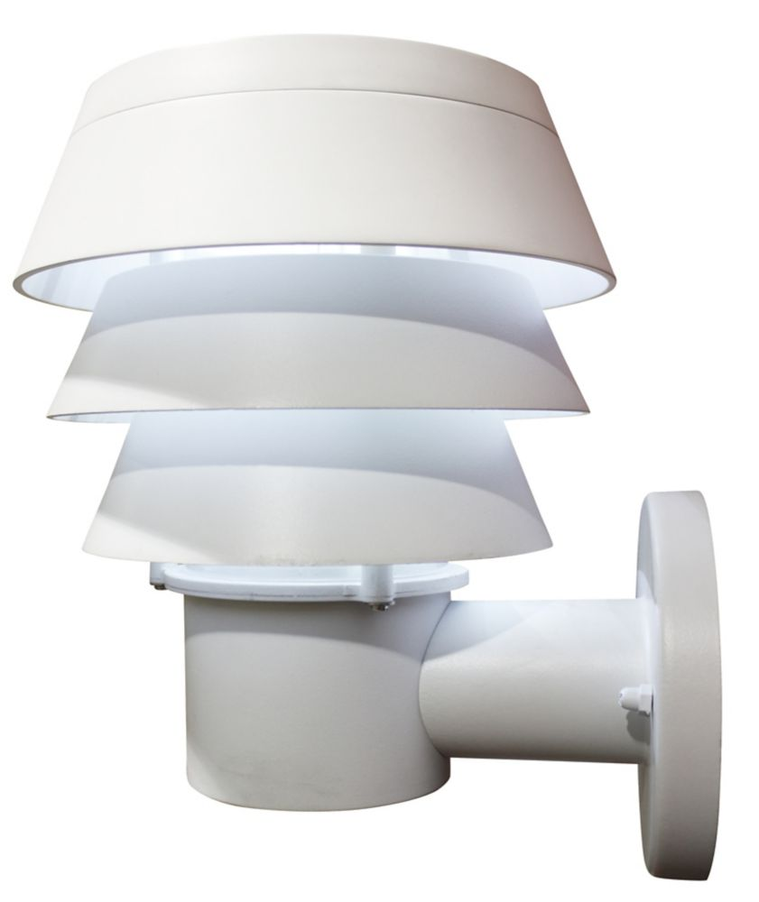 Gama Sonic Triple Tier White Solar Wall-Mount Bright-White LED Outdoor Light Fixture