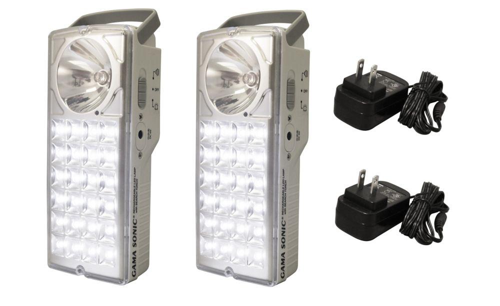 Lanterne de secours/Lampe de poche à haute luminosité, rechargeable, de 24 LED, paquet de 2