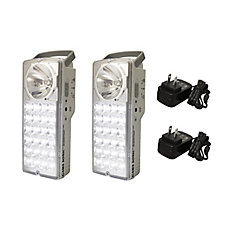 Rechargeable 24-LED Emergency Lantern/High-Beam Flashlight, Set of 2