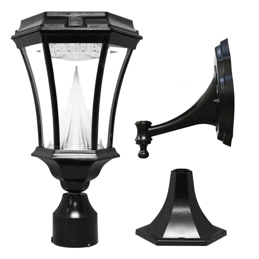 Victorian Black Solar Post-Mount/Wall-Mount Bright-White LED Outdoor Light Fixture