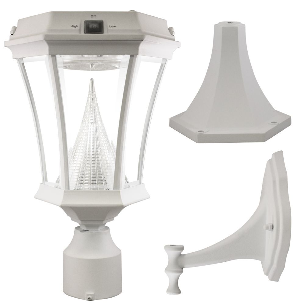 Victorian White Solar Post-Mount/Wall-Mount Bright-White LED Outdoor Light Fixture