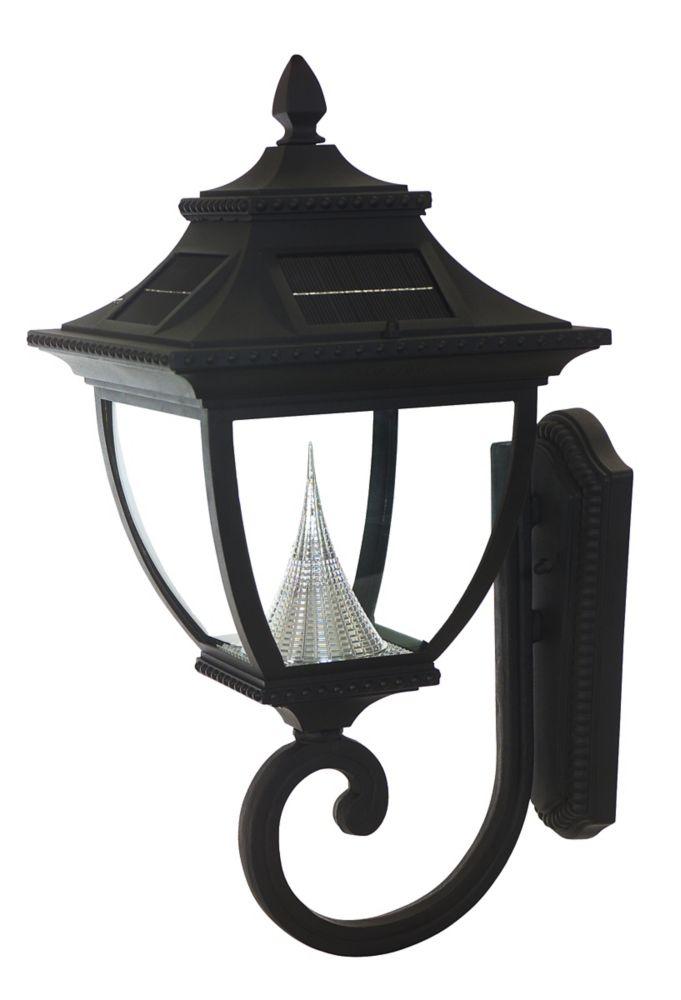 Luminaire solaire extérieur mural avec LED blanc brillant, de style Pagoda, noir