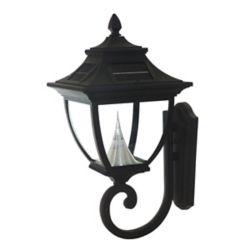 Gama Sonic Pagoda Black Solar Wall-Mount Bright-White LED Outdoor Light Fixture