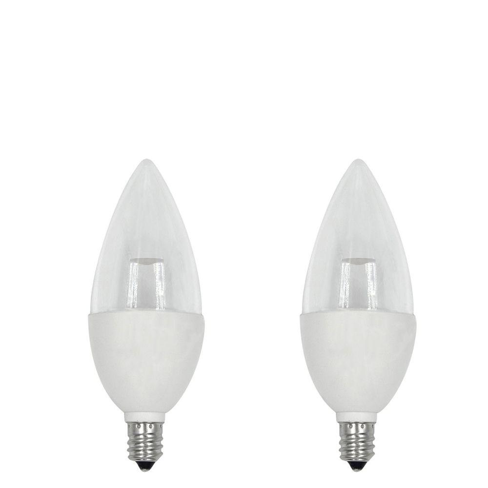 40W Equivalent Daylight (5000K) B10 Candelabra Base Dimmable LED Light Bulb (2-Pack)