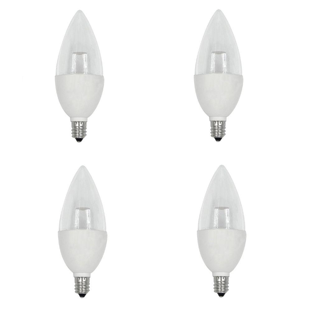 40W Equivalent Daylight (5000K) B10 Candelabra Base Dimmable LED Light Bulb (4-Pack)