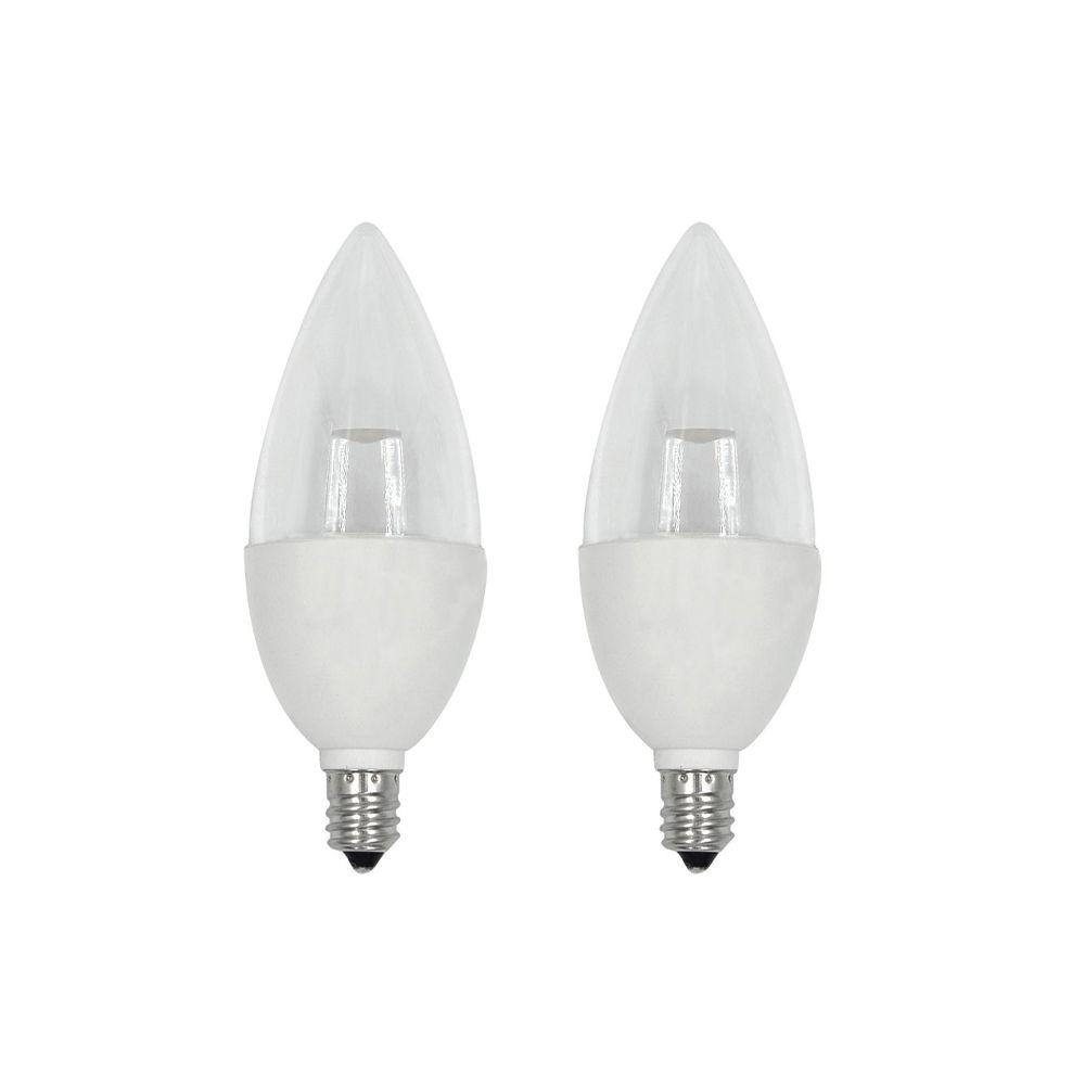 40W Equivalent Soft White (2700K) B10 Candelabra Base Dimmable LED Light Bulb (2-Pack)