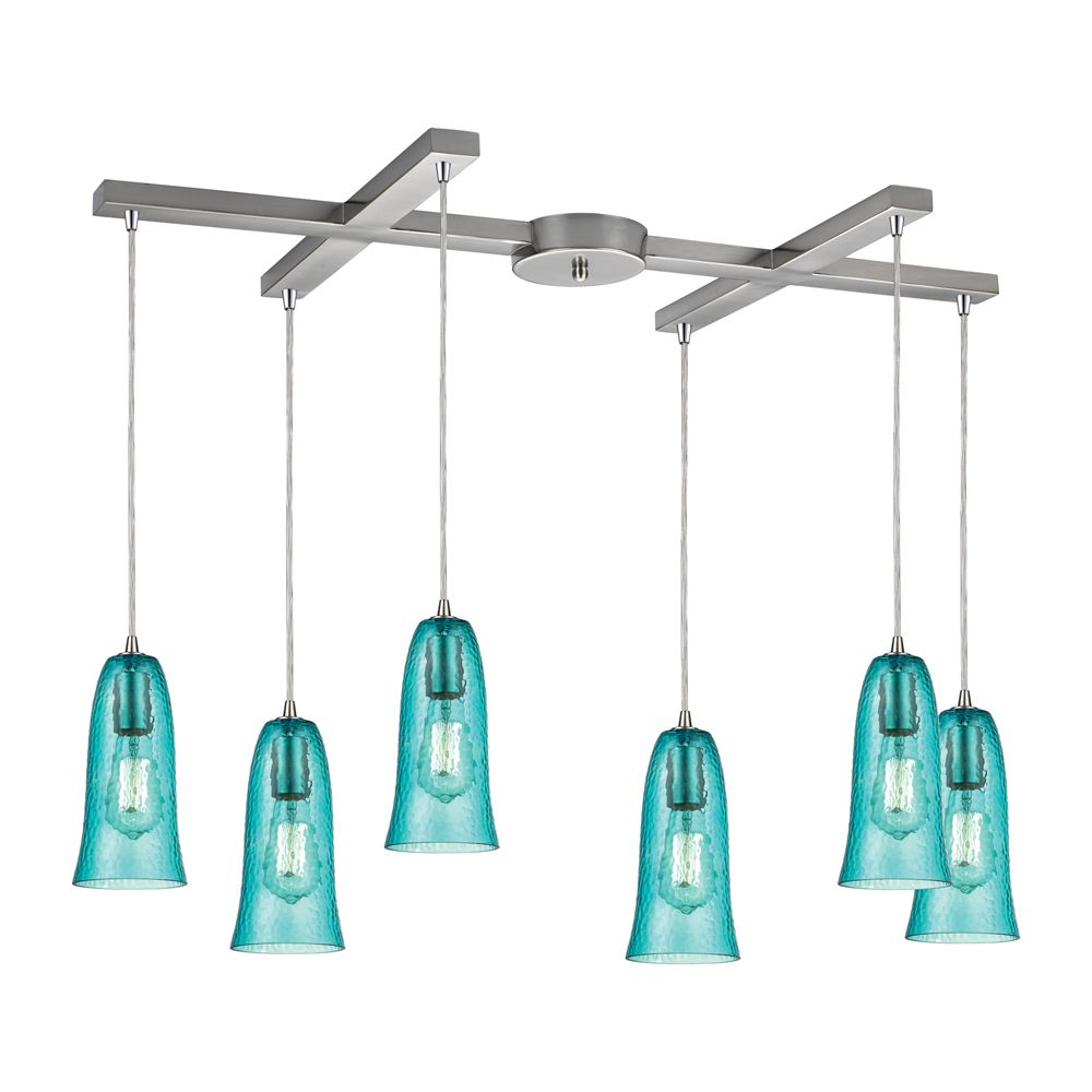 Luminaire suspendu à 6 ampoules Hammered Glass au fini nickel satiné