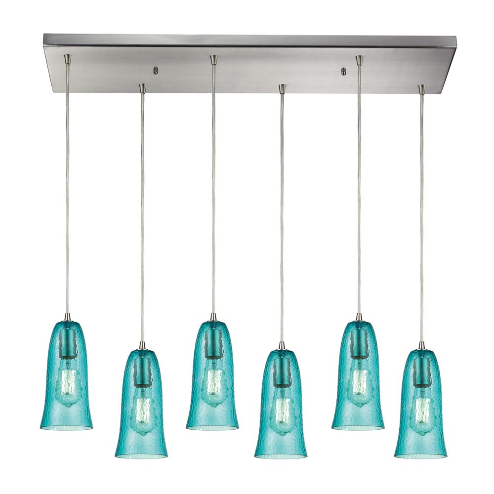 titan lighting luminaire suspendu 6 ampoules hammered glass au fini nickel satin home depot. Black Bedroom Furniture Sets. Home Design Ideas