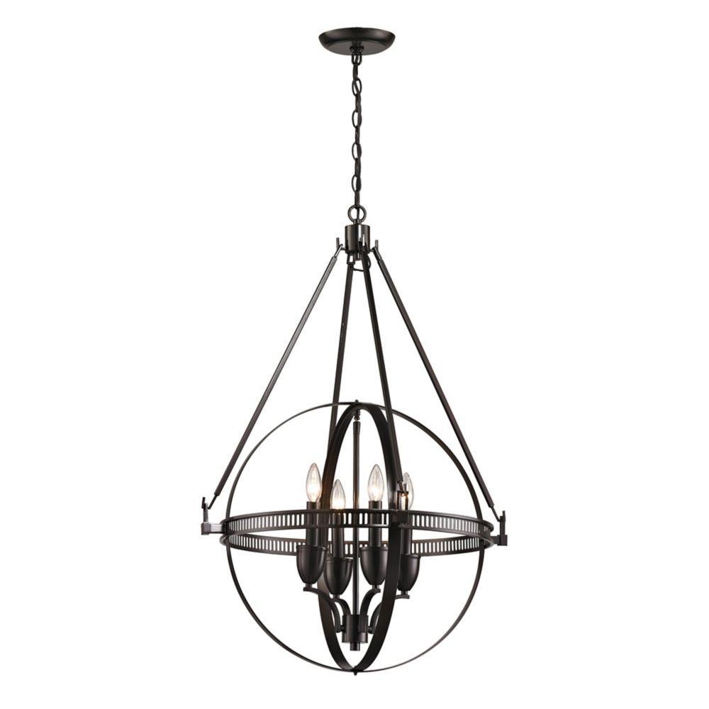 titan lighting luminaire suspendu 4 ampoules hemispheres au fini bronze huil home depot canada. Black Bedroom Furniture Sets. Home Design Ideas