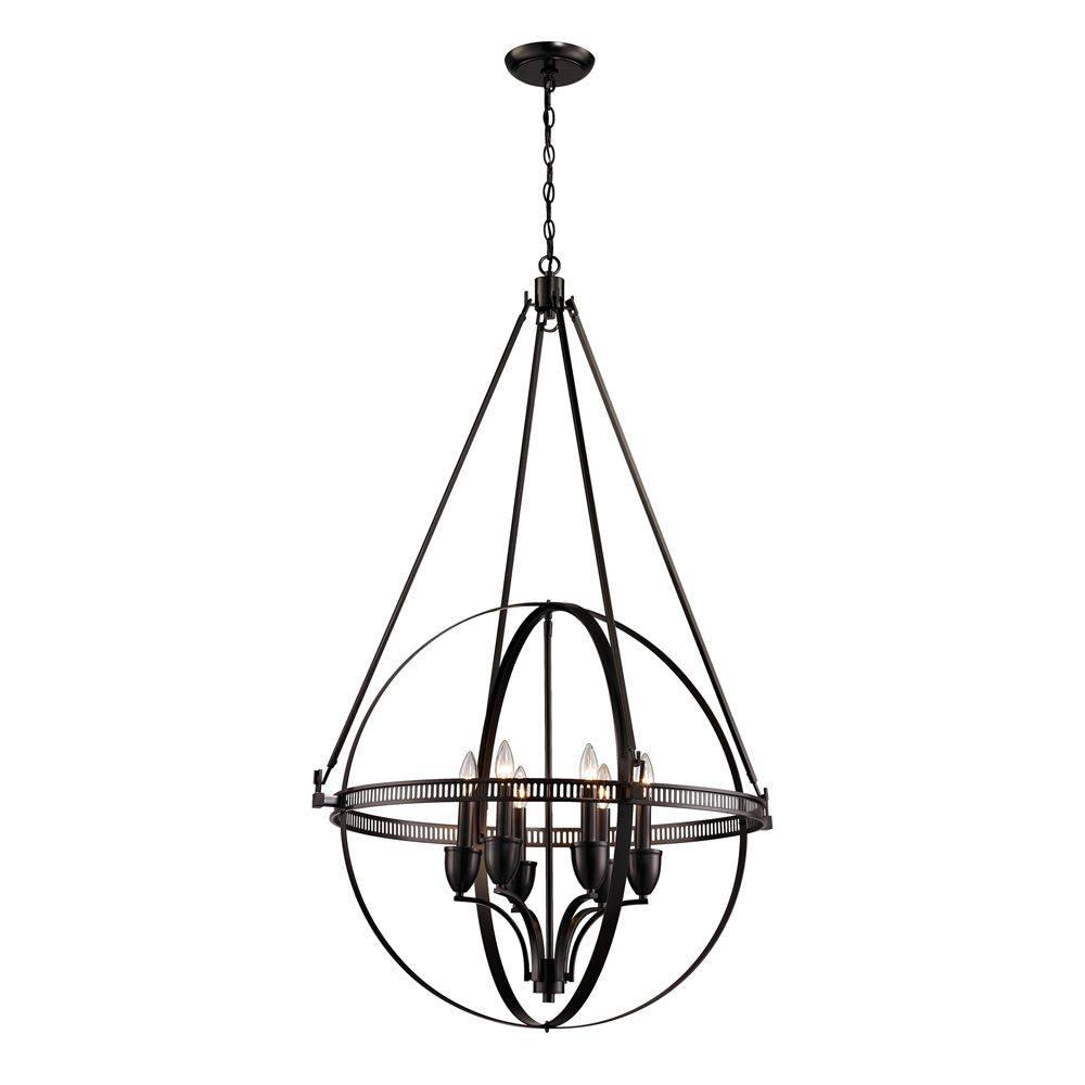 Hemispheres  Collection 6 Light Pendant In Oil Rubbed Bronze