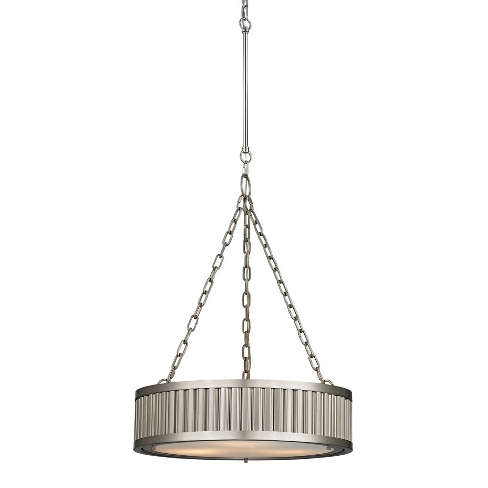Linden Collection 3 Light Pendant In Brushed Nickel