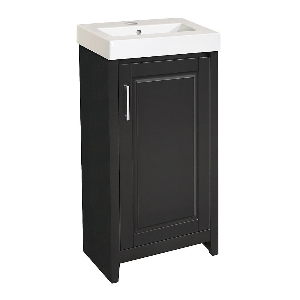 Simard 17.50-inch W 1-Door Freestanding Vanity in Black With Top in White
