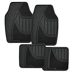 Goodyear Premium 4-Piece Carpet and Rubber Car Mat - BLK