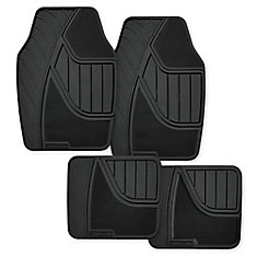Goodyear Premium 4 Piece Carpet and Rubber Car Mat - BLK