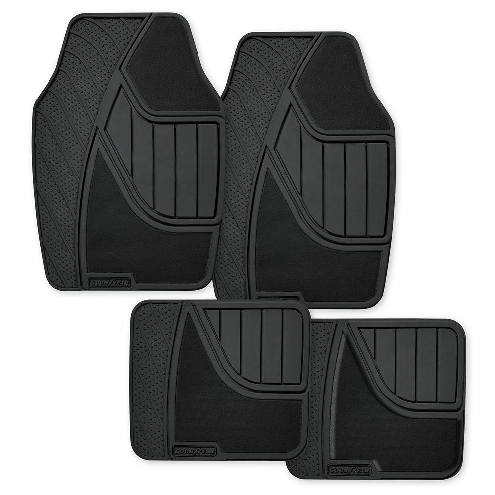 Goodyear Premium 4 Piece Carpet and Rubber Car Mat - BLK