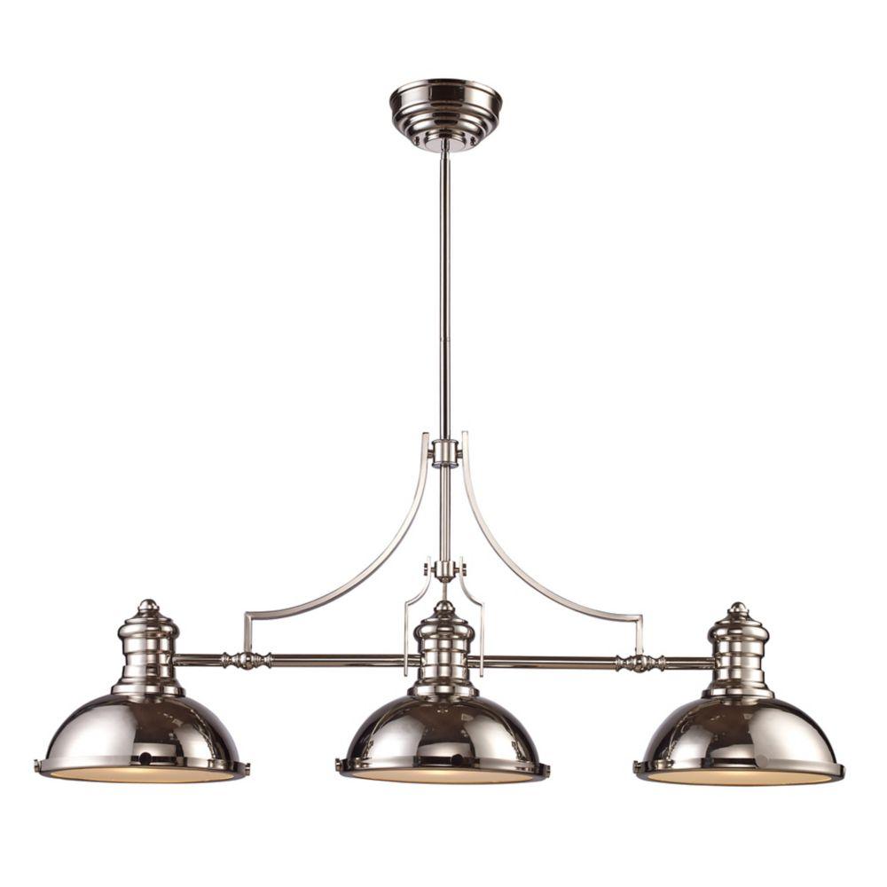 Titan Lighting Chadwick 3-Light Billiard/Island Light In Polished Nickel